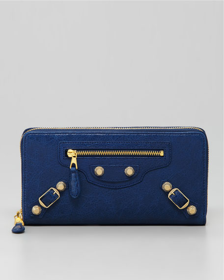 Giant 12 Golden Continental Zip Wallet, Blue Mineral