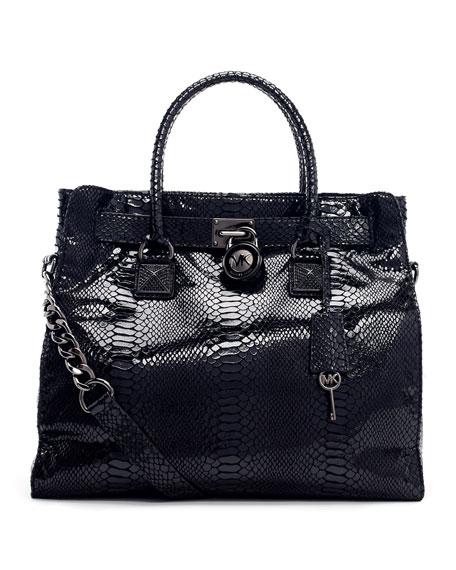 Large Hamilton Python-Embossed Tote Bag