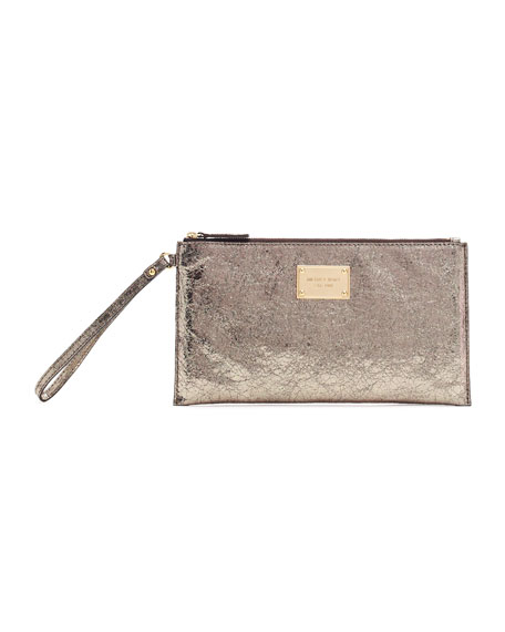 Large Jet Set Crinkled Metallic Clutch Bag