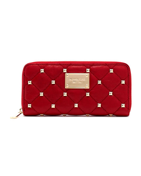 Studded Quilted Continental Wallet