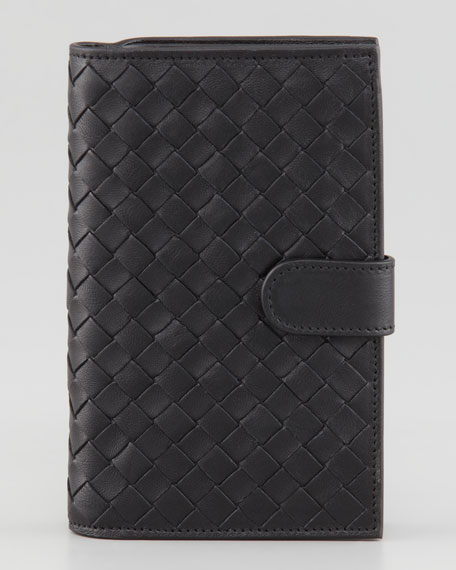 Woven Continental Fold Wallet, Black