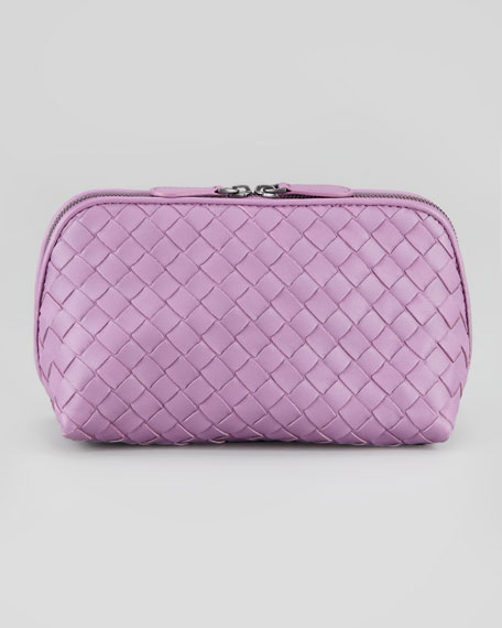 Woven Medium Cosmetic Bag, Purple