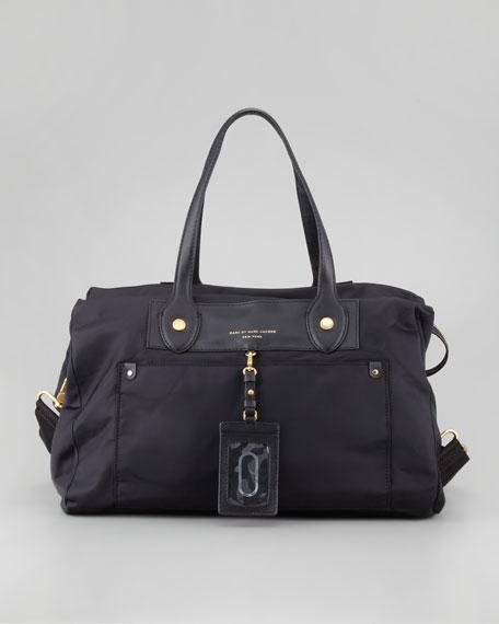 Preppy Nylon Weekender Satchel Bag, Black