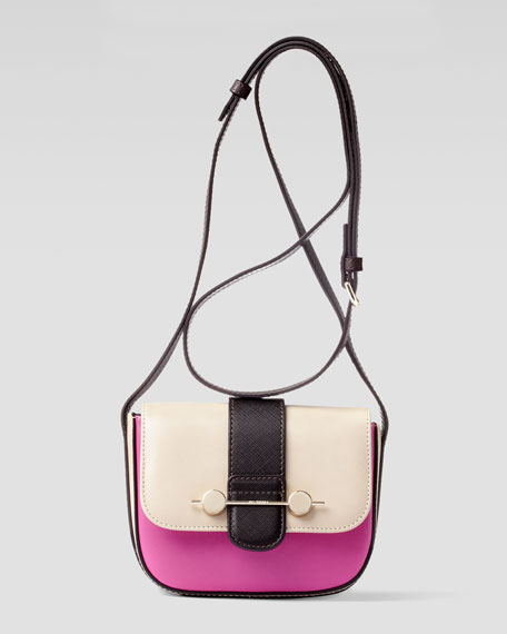 Daphne Mini Colorblock Crossbody Bag, Beige/Magenta
