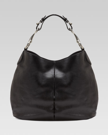 Soft Icon Leather Hobo, Black