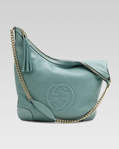 Soho Leather Chain-Strap Shoulder Bag, Splash