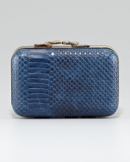 Marley Snake-Embossed Clutch Bag, Midnight