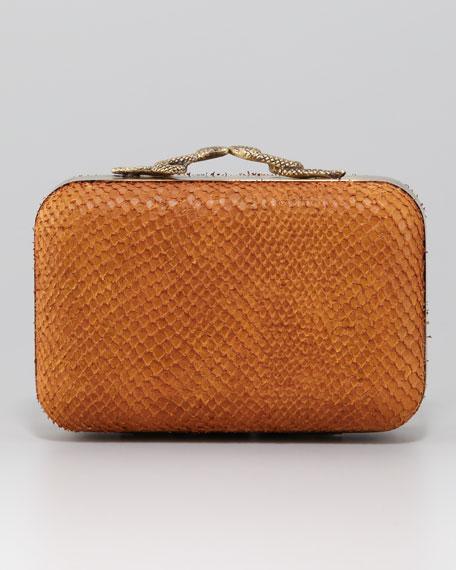 Marley Snake-Clasp Clutch Bag, Camel