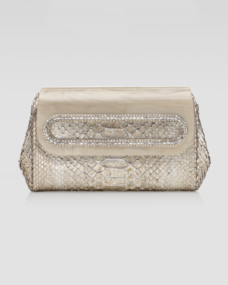 Carter Washed Metallic Python Clutch Bag