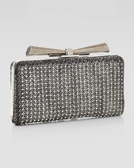 Carrie Woven Leather Clutch Bag, Black/Silver