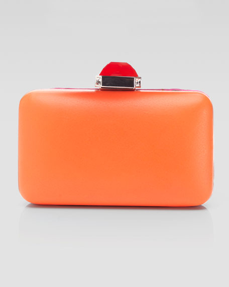 Jamie Flat Frame Rectangle Clutch Bag, Orange