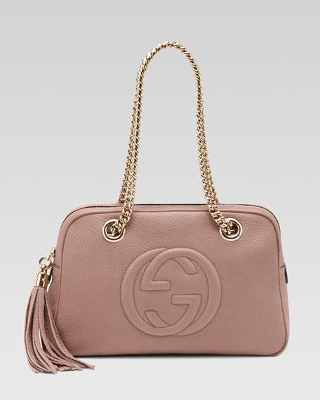 Soho Leather Double-Chain-Strap Shoulder Bag, Dark Cipria
