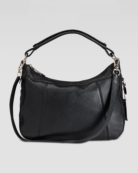 Linley Small Rounded Hobo Bag, Black