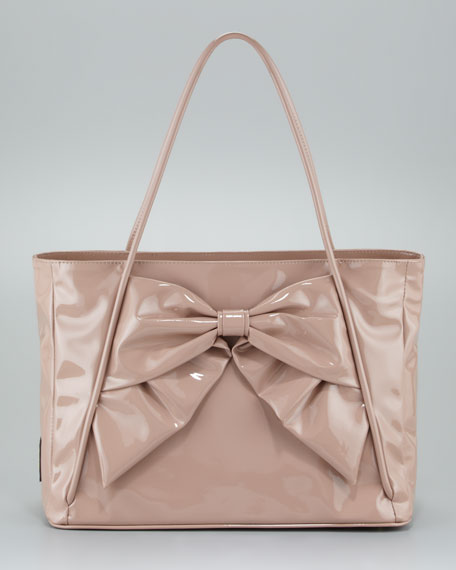 Betty Lacca Bow Tote Bag, Soft Noisette