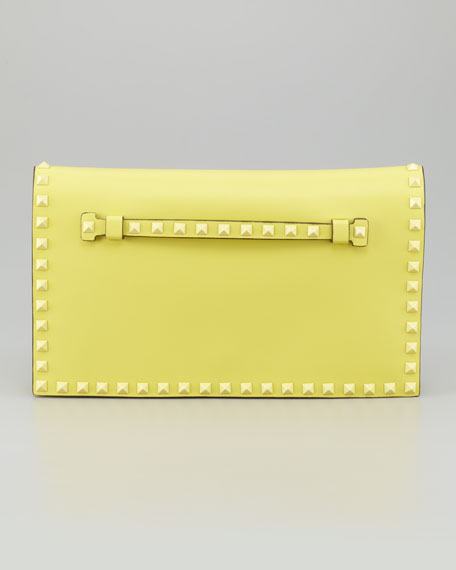 Rockstud Flap Clutch Bag, Soft Yellow