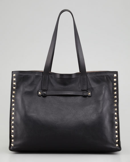Rockstud Medium Tote Bag, Nero