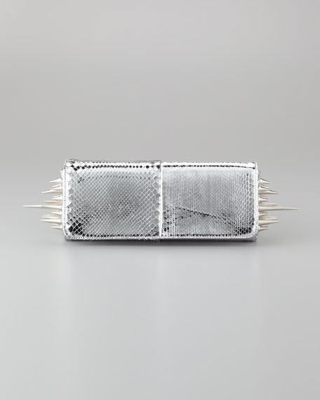 Marquise Metallic Python Clutch Bag, Silver