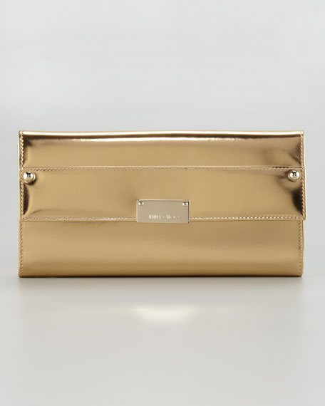 Reese Metallic Leather Wallet Clutch Bag, Gold