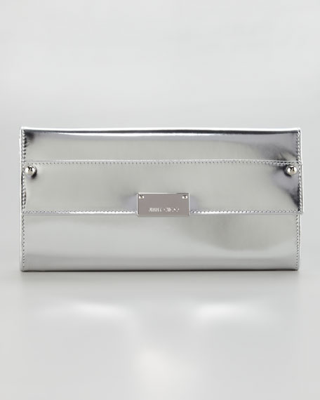 Reese Metallic Leather Wallet Clutch Bag, Silver