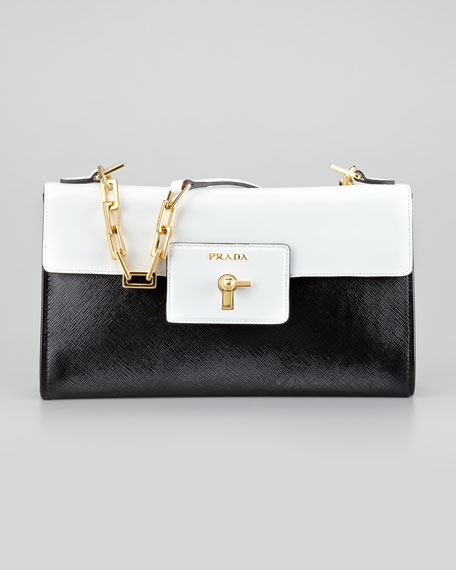 Saffiano Vernice Chain Shoulder Bag, Nero/Bianco