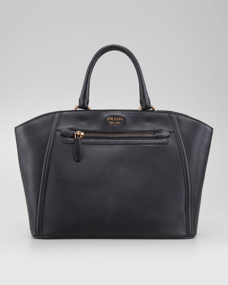 City Calfskin Zip-Pocket Tote Bag, Nero