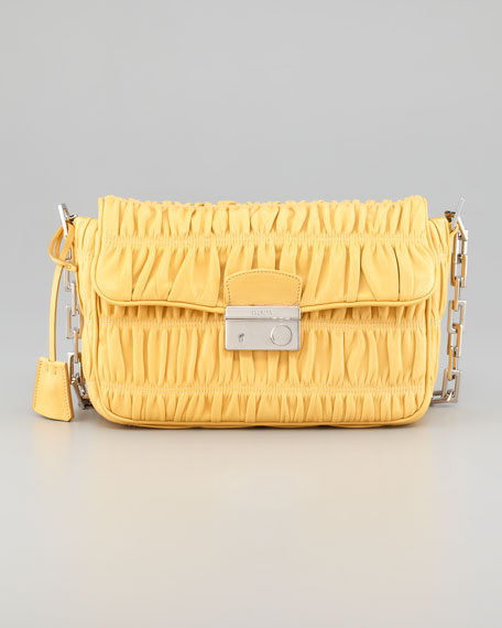 Napa Gaufre Chain Shoulder Bag, Ginestra