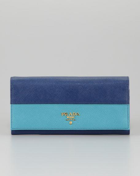 Saffiano Bicolor Wallet, Bluette/Turchese