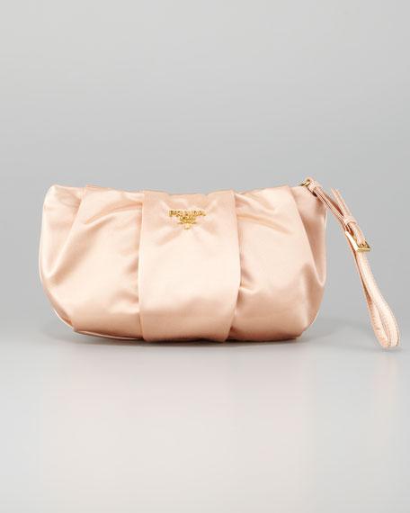 Satin Wristlet Bag, Champagne