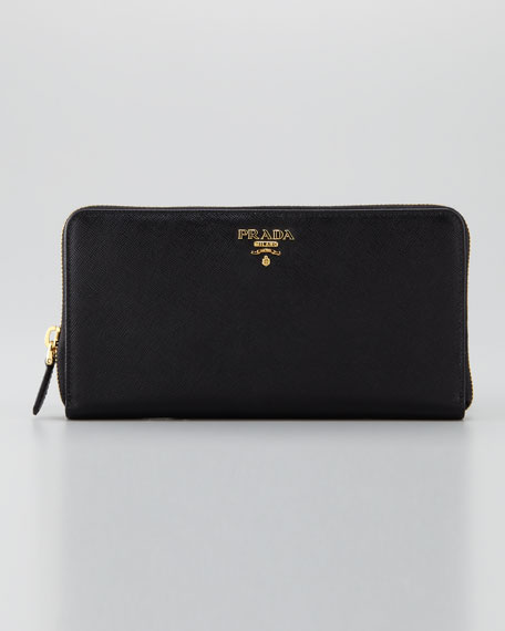 Prada Saffiano Large Zip-Around Wallet, Nero