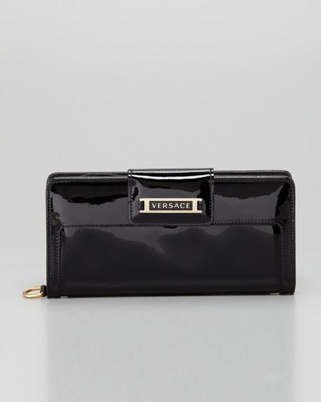 Logo-Flap Clutch Bag Wallet, Black