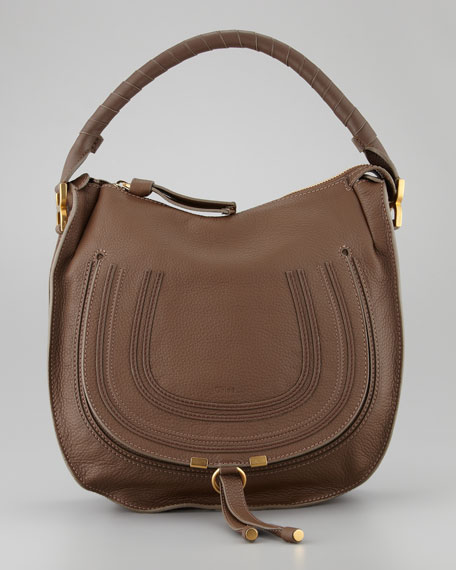 Marcie Medium Hobo Bag, Brown Seed