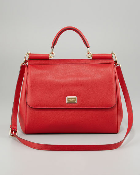 Miss Sicily Dauphine Leather Flap Bag, Red