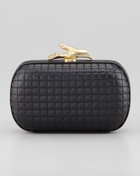 Lytton Quilted Leather Clutch Bag, Black