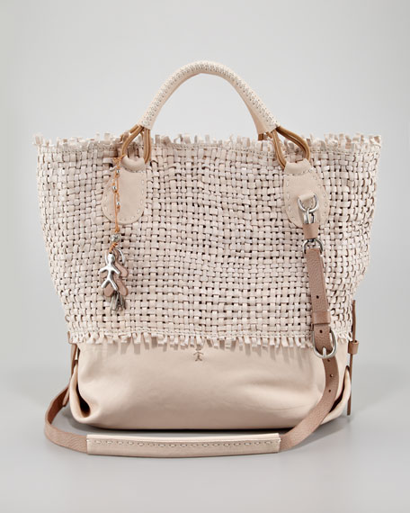 Woven Leather Shoulder Tote, Cream