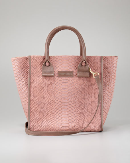April Python-Embossed Zipped Tote Bag, Small