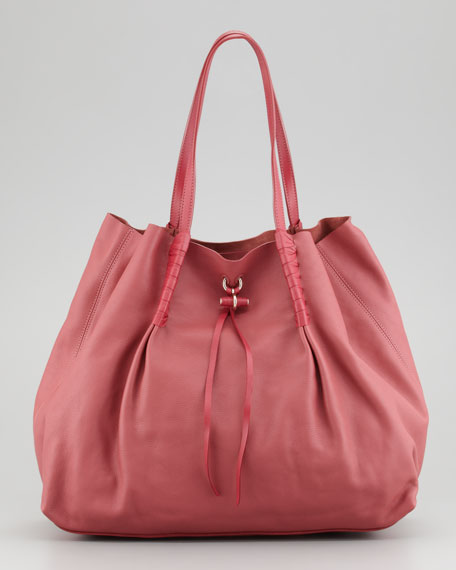 Ondine Leather Tote Bag, Rose Cendre