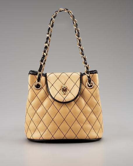 Liz Mini Quilted Shoulder Bag, Natural/Black