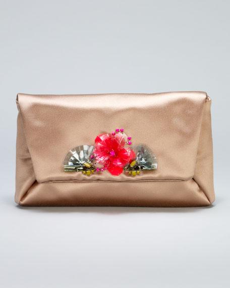 Mai Tai Flower-Front Satin Clutch Bag, Honey