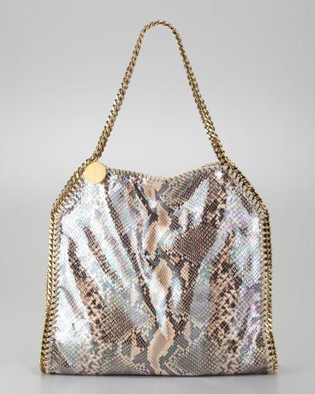 Baby Bella Faux Python Tote Bag, Nude