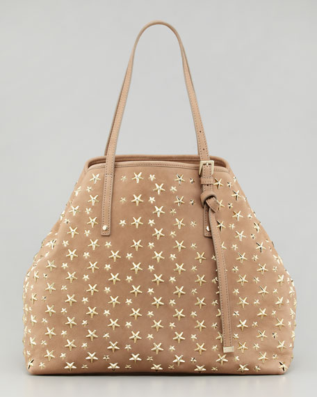 Sasha Star-Studded Tote Bag, Buff