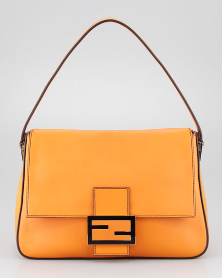 Big Mama Zucca-Flap Large Shoulder Bag, Orange