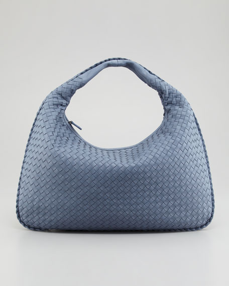 Veneta Large Woven Hobo Bag, Blue