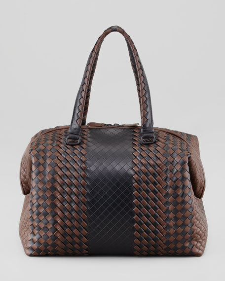 Bicolor Double-Handle Woven Tote Bag, Black/Brown