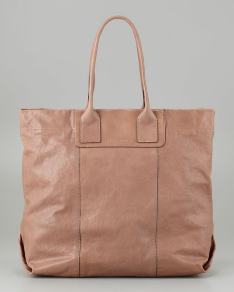 Shiny Kidskin North-South Tote Bag