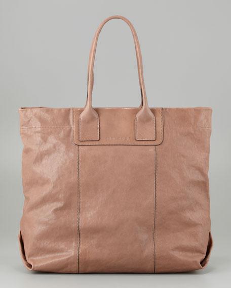 Shiny Kidskin North-South Tote Bag