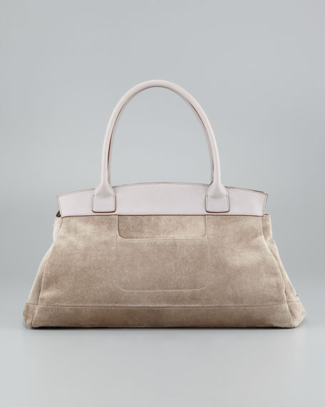 Suede & Cashmere Satchel Bag