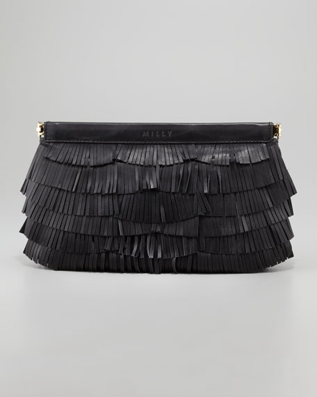 Fringed Leather Clutch Bag, Black
