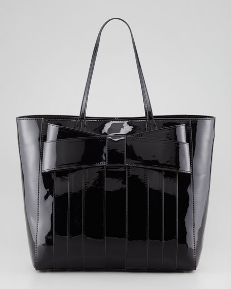 Shirley Bow Shopper Tote, Black