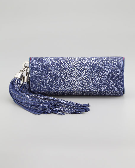 Claudette Stingray-Embossed Tassel Clutch Bag, Marlin