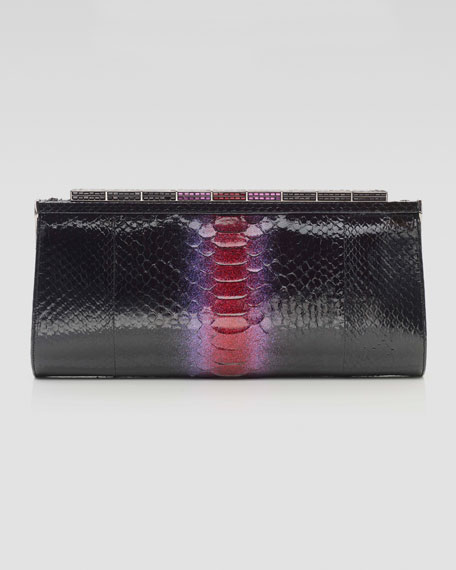 Anna Python Clutch Bag, Fuchsia/Black